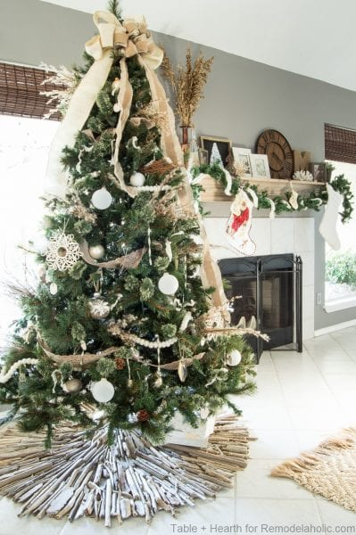 Remodelaholic how to make a coastal style rustic for Hanging driftwood christmas tree
