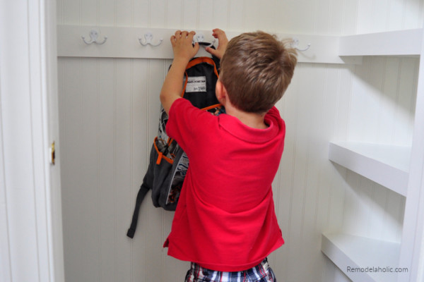 Upgraded Hall Coat Closet Organization With Hooks And Shelves Remodelaholic