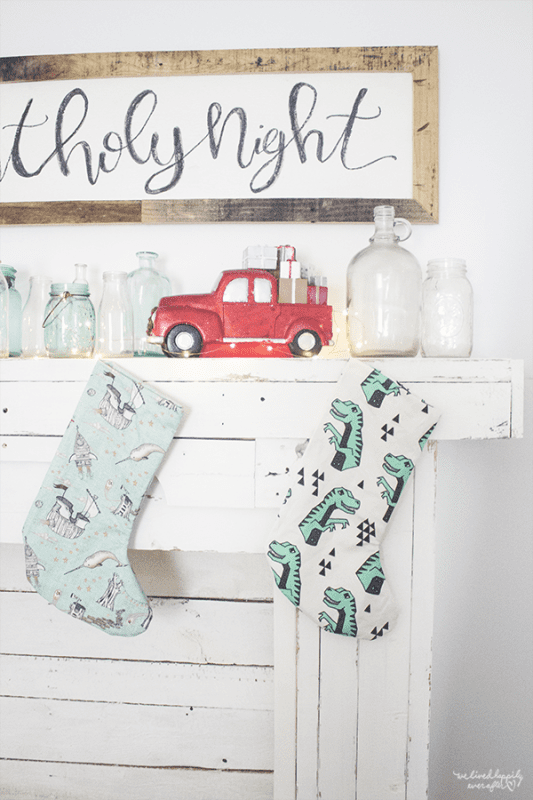16 Handmade Stockings On Rustic Mantel Made Of Reclaimed Wood, A Christmas Home Tour By We Lived Happily Ever After Featured On @Remodelaholic