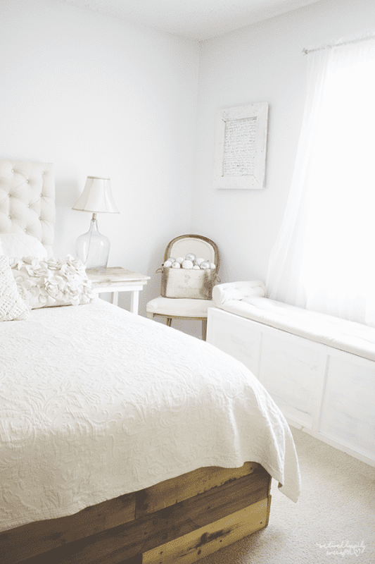 17 Master Bedroom In Rustic White, A Christmas Home Tour By We Lived Happily Ever After Featured On @Remodelaholic