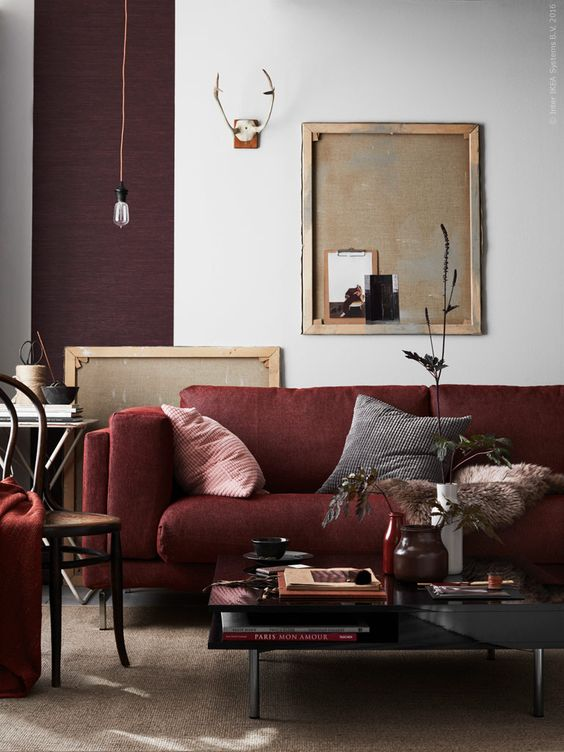Decorating A Neutral Living Room With Burgundy Couch