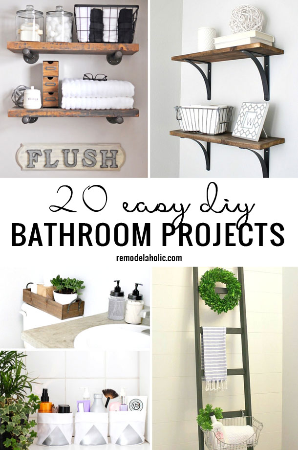 Time to update your bathroom on a small scale? Tackle one or more of these 20 Easy DIY Bathroom Projects to get a new look featured on Remodelaholic.com