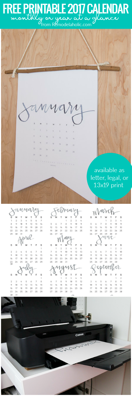 2017 Calendar Printable @Remodelaholic