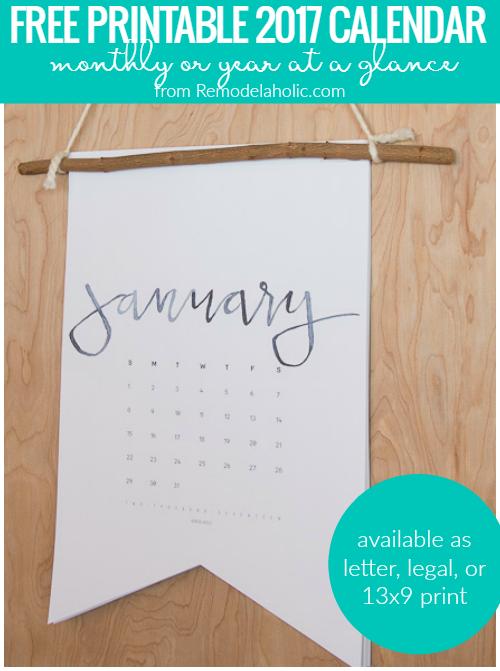 2017 Calendar Printable @Remodelaholic Crop