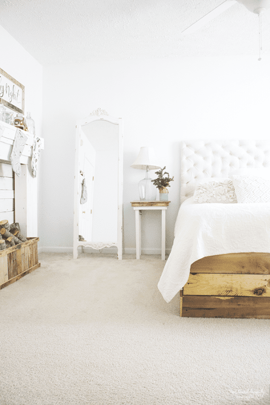 24 Rustic White Master Bedroom With Handmade Details, A Christmas Home Tour By We Lived Happily Ever After Featured On @Remodelaholic