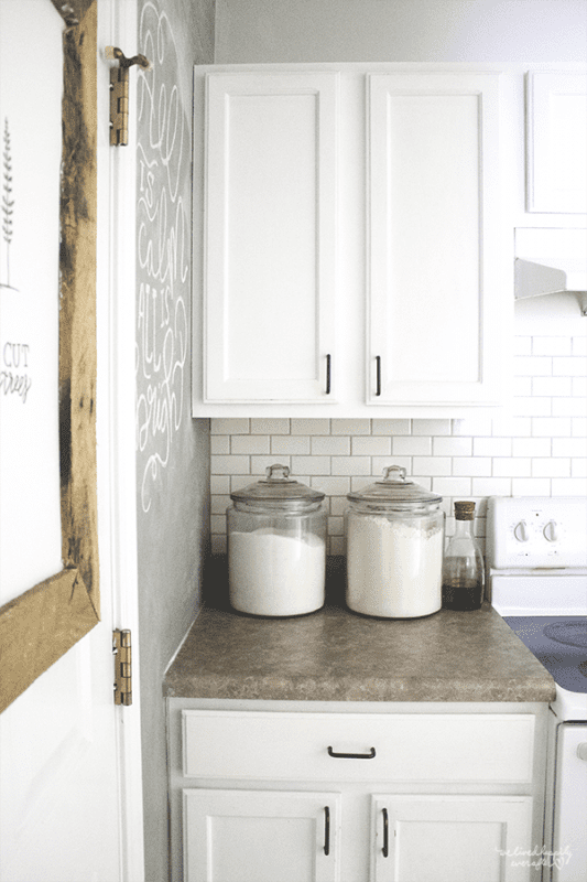 3 Canisters In White Kitchen, By We Lived Happily Ever After Featured On @Remodelaholic
