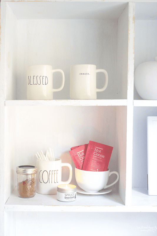 7 Hot Chocolate Bar For Display In White Kitchen, By We Lived Happily Ever After Featured On @Remodelaholic