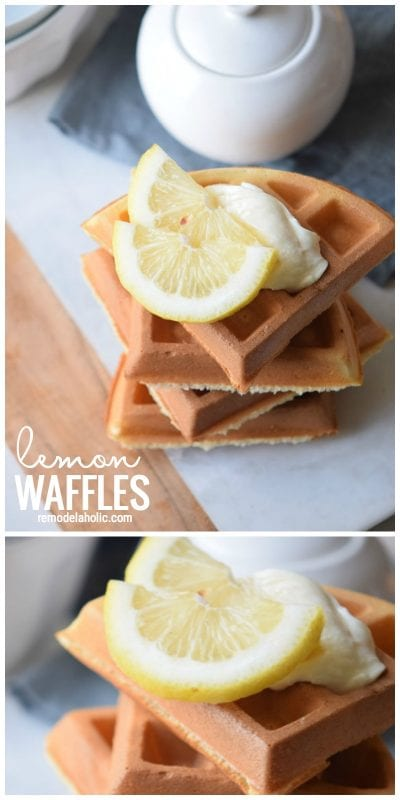 Add a little kick to your regular breakfast waffles by adding some citrus with this Lemon Waffles Recipe via Remodelaholic.com