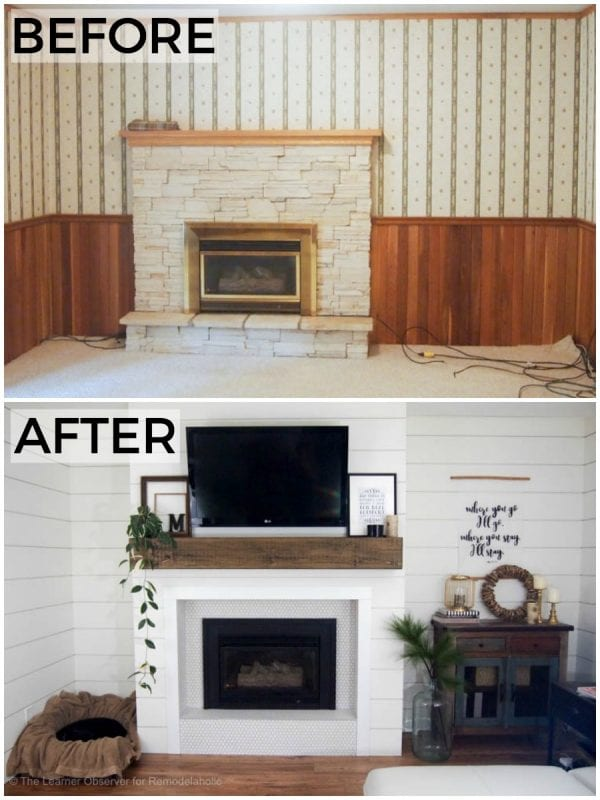 From dated wood paneling and wallpaper with a crumbling stone fireplace to a beautiful bright white shiplap and tile fireplace and a wood beam mantel