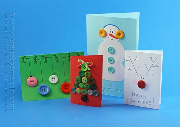 Button Christmas CardsSend some handmade sentiments to your family and friends this Christmas season. Use one of these 11 Easy DIY Christmas Cards featured on Remodelaholic.com