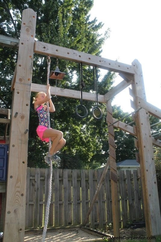 DIY Backyard Fun For The Entire Family, Rope Climb On Ninja Obstacle Course, By Girl Meets Carpenter Featured On @Remodelaholic