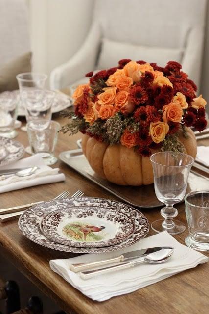 DIY Pumpkin Vase Thanksgiving Centerpiece Ask Anna Remodelaholic