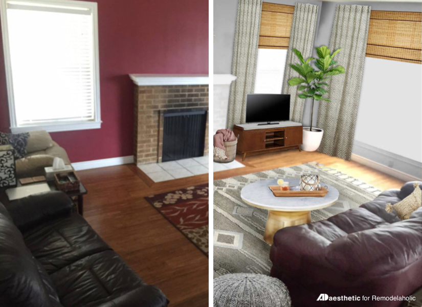 Remodelaholic | Real Life Rooms: Neutral Living Room With A Burgundy Couch