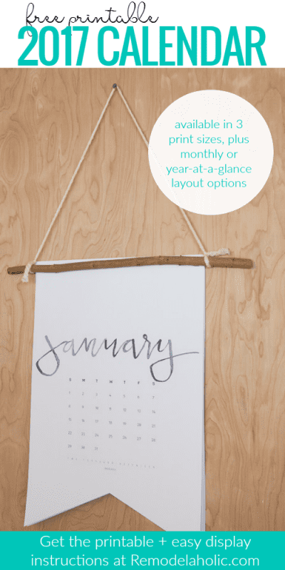 Free printable 2017 calendar, plus an easy tutorial to make it into a boutique-style hanging pennant calendar. Perfect for an easy gift, and make one for yourself! Get the printable in legal, letter, and 13x9 sizes from Remodelaholic.com