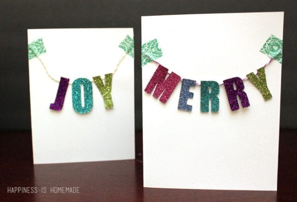 Joy and Merry banner cards.Send some handmade sentiments to your family and friends this Christmas season. Use one of these 11 Easy DIY Christmas Cards featured on Remodelaholic.com