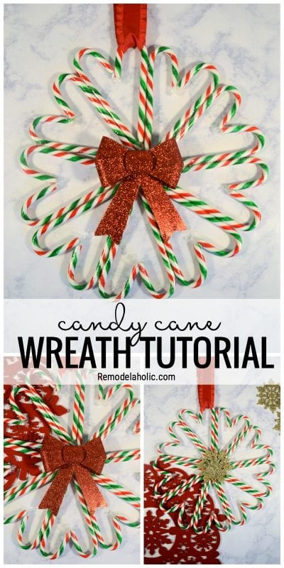 Make Use Of Some Extra Candy Canes To Make This Festive Wreath. Candy Cane Wreath Tutorial Via Remodelaholic.com