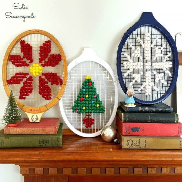Oversized Christmas Cross Stitch On Vintage Wooden Tennis Racket Racquet By Sadie Seasongoods