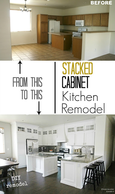 Pneumatic Addict, Stacked Cabinet Kitchen Makeover
