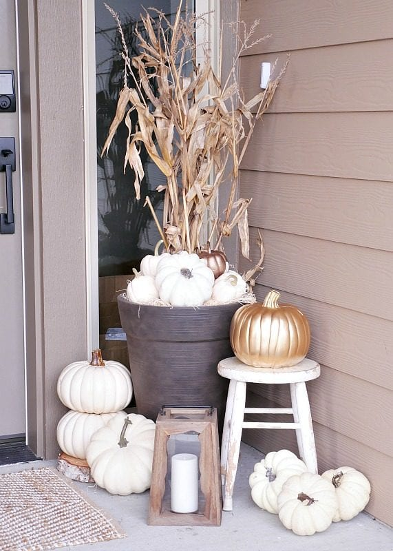 White Pumpkins On Porch