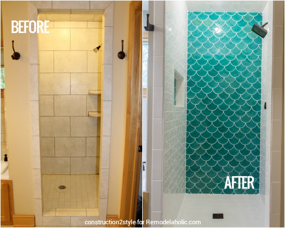 Fish tiles bathroom - Before And After Moroccan Fish Tile Shower