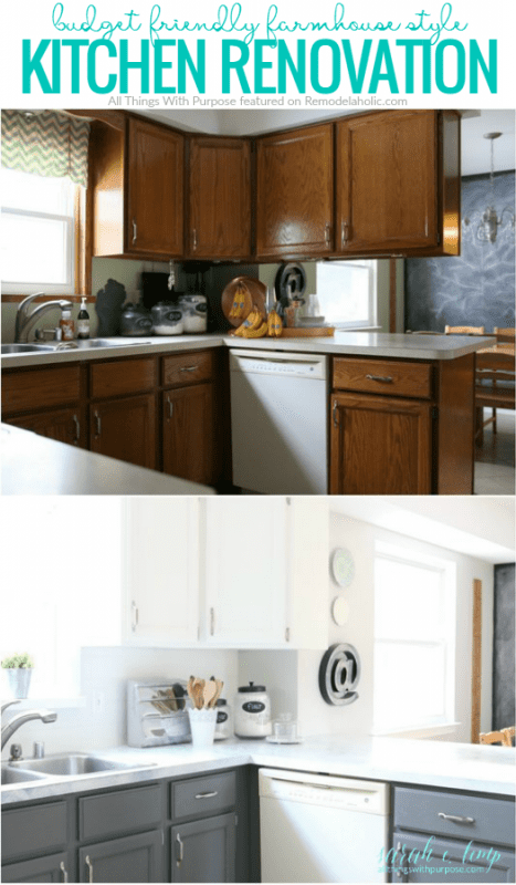 A dated oak kitchen got a new budget-friendly farmhouse style with these creative DIY projects, including a DIY shiplap backsplash from peel and stick tiles. Get the details from All Things with Purpose on Remodelaholic.com
