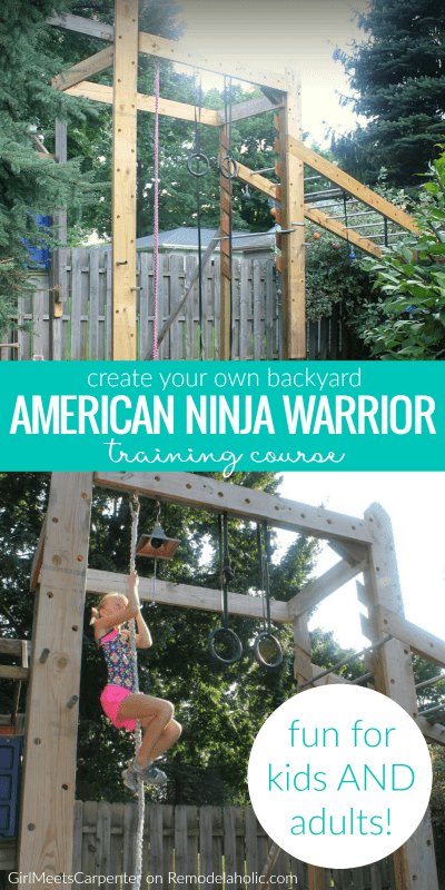 Whether you're training to compete or just want to increase your fitness, you can do it in a fun way with the whole family on this DIY backyard American Ninja Warrior style training course! Details from GirlMeetsCarpenter on Remodelaholic.com