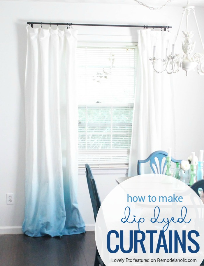 make your own window treatments kitchen update pair of basic white curtains with this simple dye technique for an ombre dip remodelaholic make your own ombre dip dye curtains