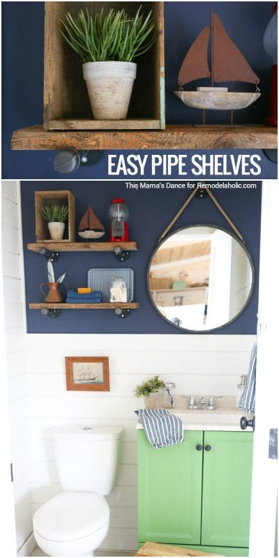 These easy DIY reclaimed wood and pipe shelves are the perfect touch of industrial and rustic style for any space! Great for a bathroom, dining room, kitchen, living room -- anywhere! Tutorial from This Mama's Dance on @Remodelaholic