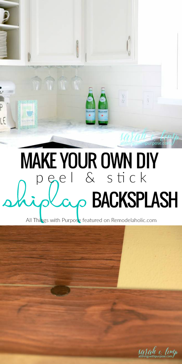remodelaholic diy budget friendly white kitchen renovation with shiplap backsplash. Black Bedroom Furniture Sets. Home Design Ideas