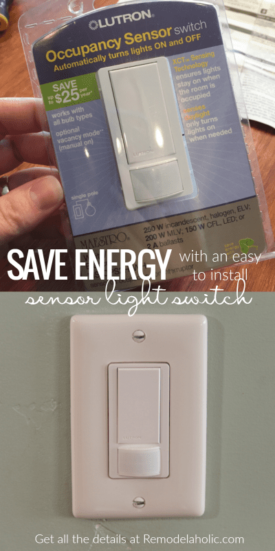 Lower your electricity bills and save energy with an easy to install sensor switch for your lights! Perfect for a storage room, bathroom, or entryway. Learn how to do it yourself on Remodelaholic.com