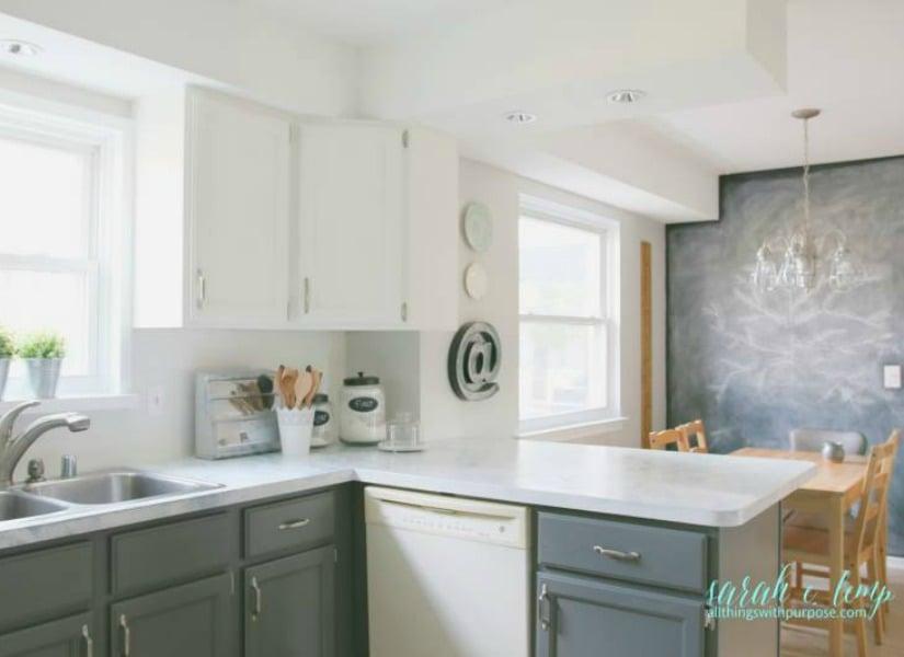 Remodelaholic Diy Budget Friendly White Kitchen Renovation With Shiplap Backsplash
