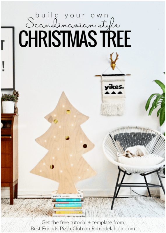 How To Build A Simple Scandinavian Style DIY Plywood Christmas Tree With Lights, Best Friends Pizza Club Featured On @Remodelaholic Crop