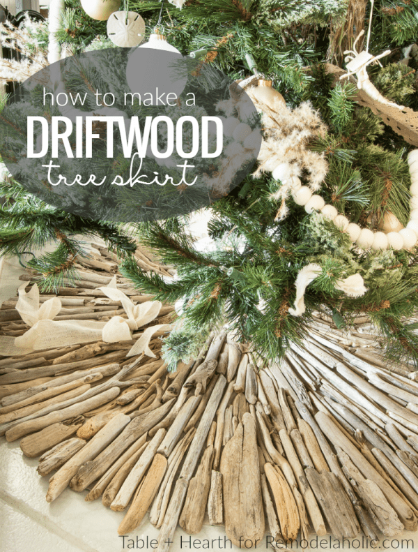Decorate for a coastal Christmas -- this rustic coastal style is so beautiful, and so easy to do with this DIY rustic driftwood Christmas tree skirt tutorial from Table + Hearth on Remodelaholic.com