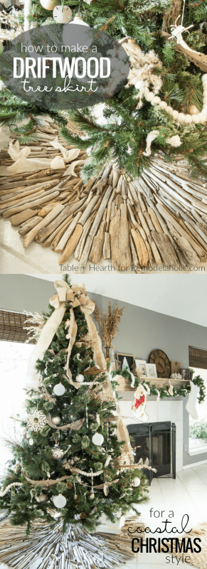 How To Make A Coastal Driftwood Christmas Tree Skirt Remodelaholic