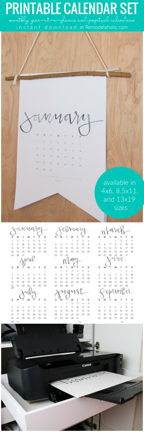 Print a LARGE wall calendar at home with our favorite minimalist black and white extra-large calendar printable -- or choose the updated watercolor version! Tutorial for a boutique-style wall calendar or a desk calendar. #remodelaholic
