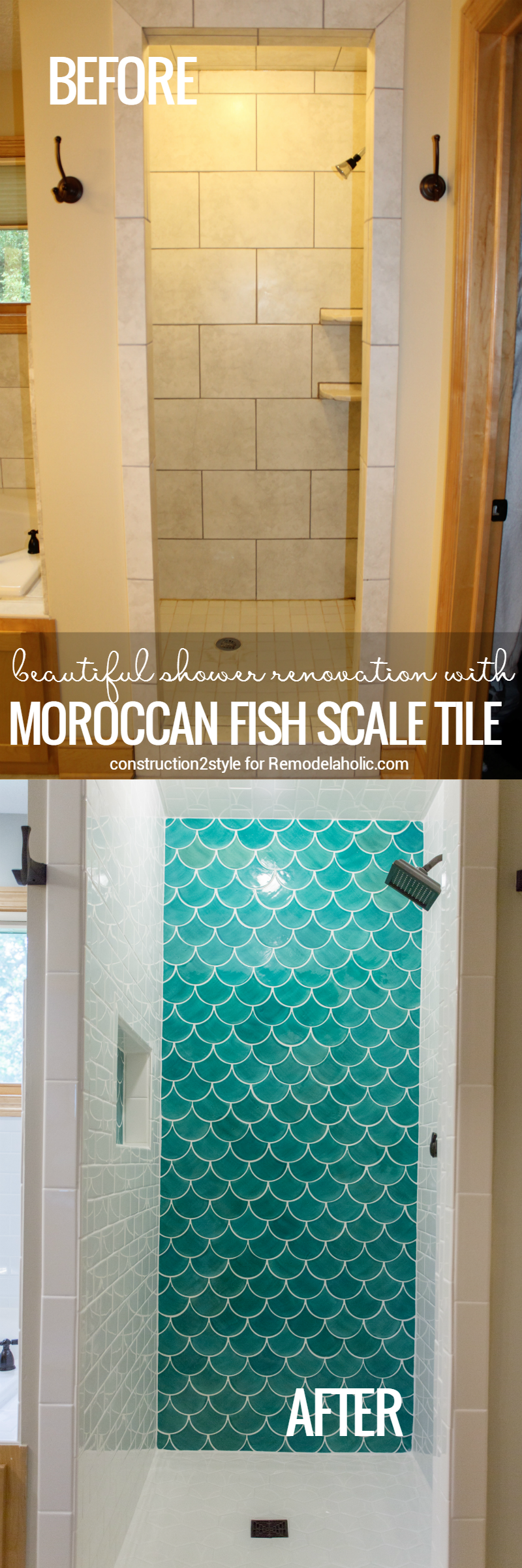 Remodelaholic How To Tile A Shower With Moroccan Fish