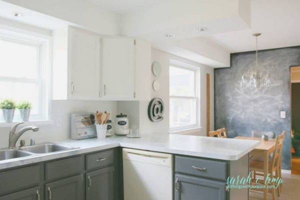 Oak Kitchen Updated With Paint And Shiplap Backsplash, All Things With Purpose Featured On @remodelaholic