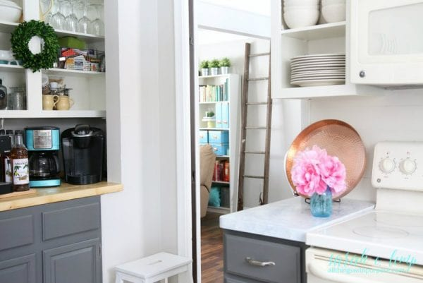 Two Tone DIY Kitchen Renovation With DIY Shiplap Backsplash And Painted Marble Countertops, All Things With Purpose Featured On @remodelaholic