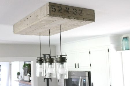 10 DIY Palletwood Lightbox For Kitchen Island Noting Grace Featured On @Remodelaholic