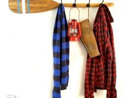 10 Vintage Feather Brand Oar Paddle With Stenciled Stripes Repurposed Upcycled Into DIY Coat Hook Rack By Sadie Seasongoods