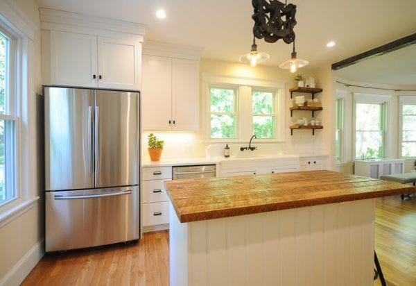 2 Kitchen Remodel, After, With Repurposed Wood And Open Shelves, By SoPo Cottage Featured On @Remodelaholic