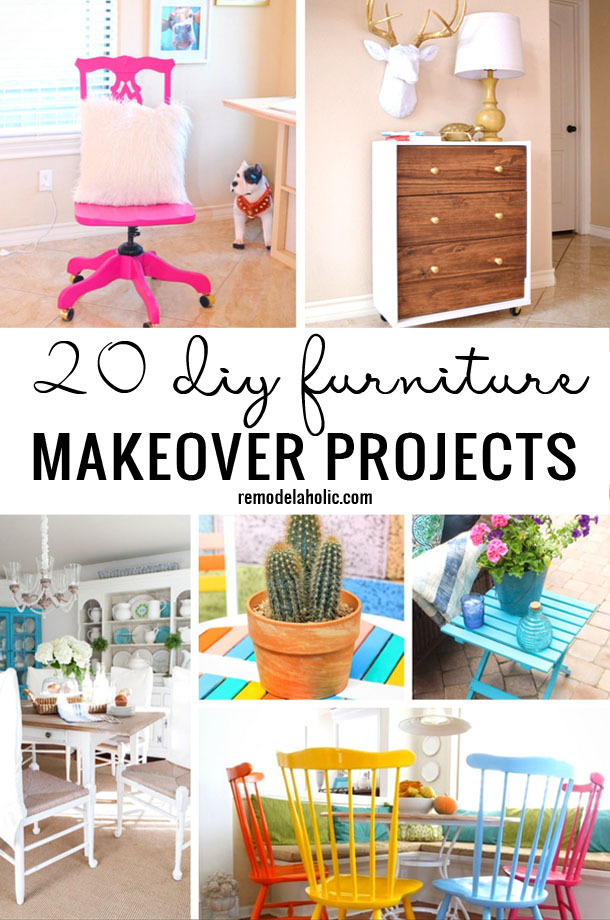 Get out your paint and have some fun with these 20 DIY Furniture Makeover Projects - featured on Remodelaholic.com