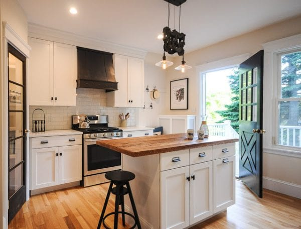 6 Total Kitchen Remodel With Custom Range Hood Glass Door Pantry And Reclaimed Wood Island By SoPo Cottage Featured On @Remodelaholic