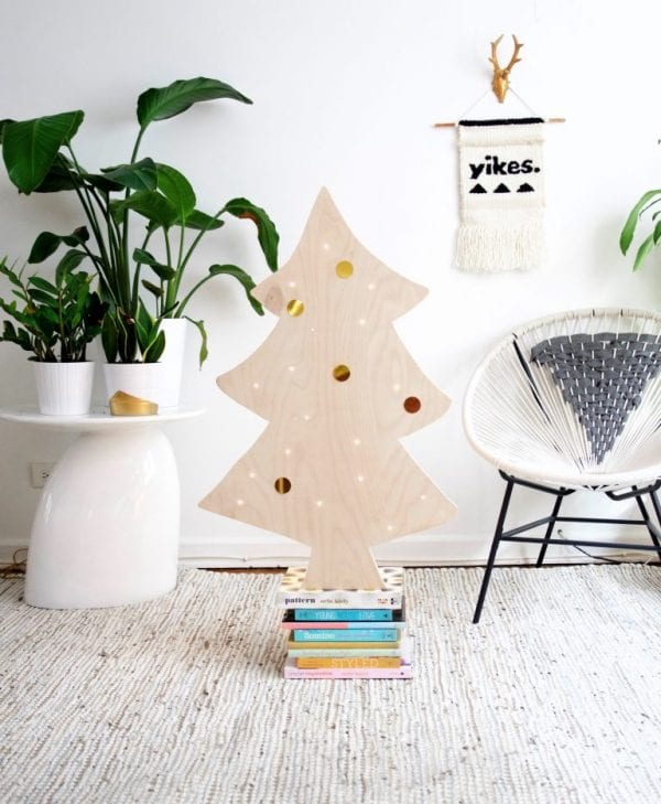 DIY Plywood Christmas Tree With Lights Best Friends Pizza Club Featured On @Remodelaholic 768x933