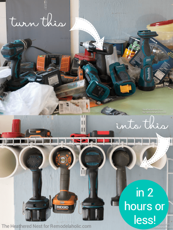 Get your garage organized and ready for more projects with this quick and easy DIY power tool organizer. It's inexpensive and will only take you a couple of hours from start to finish! Tutorial from The Heathered Nest on Remodelaholic.com
