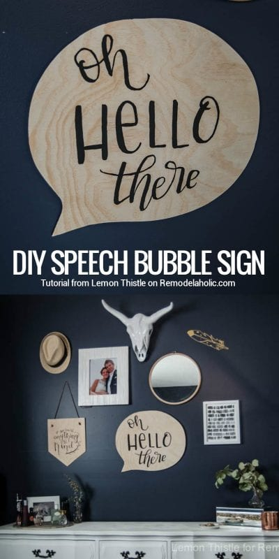 "Perfect for a gallery wall! Let your walls ""talk"" with this easy DIY speech bubble sign. Hand-letter it with your favorite greeting, or use chalkboard paint to ""say"" whatever is on your mind."