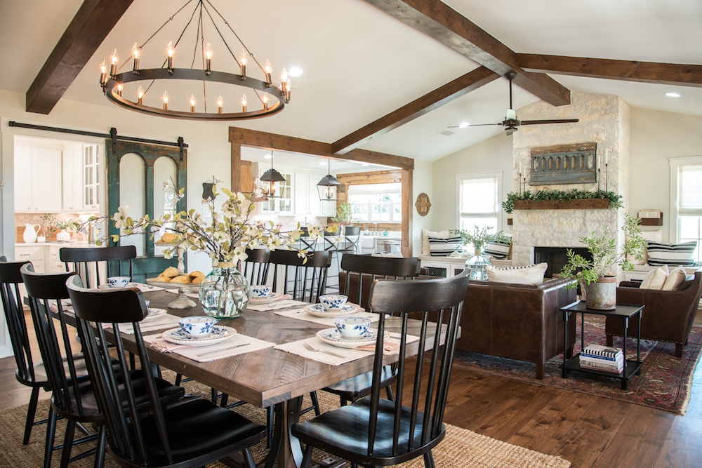 Remodelaholic get this look fixer upper big country for Fixer upper best dining rooms
