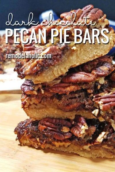 Easy and delicious Dark Chocolate Pecan Pie Bars Recipe via Remodelaholic.com
