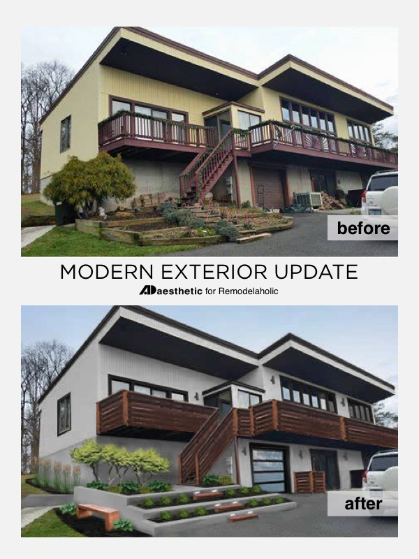 Modern Exterior Curb Appeal Update • Photoshop Mockups by AD Aesthetic for Remodelaholic.com