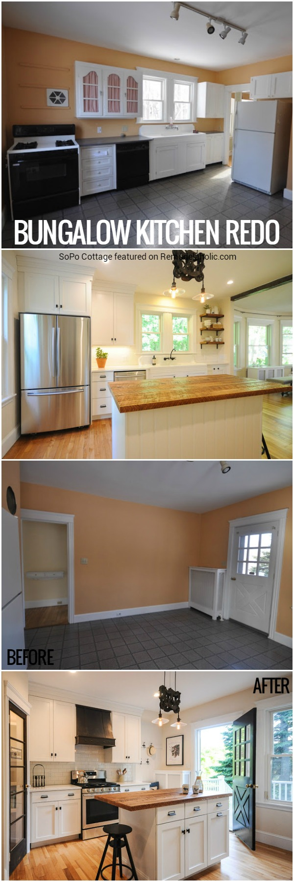 Remodelaholic Modernized Bungalow Kitchen Renovation With Reclaimed Wood Countertop